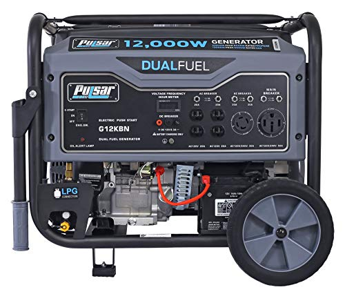 Pulsar G12KBN-SG Heavy Duty Portable Dual Fuel Generator - 9500 Rated Watts & 12000 Peak Watts - Gas & LPG - Electric Start - Transfer Switch & RV Ready - CARB Compliant
