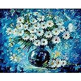 Marco adultos Diy pintura al óleo digital por números flores cuadro de arte de pared por número pintura de caligrafía