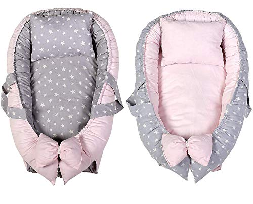 Baby Nest Portable 100/% Soft Cotton Baby Bassinet Crib Breathable Newborn Infant Bed for Co-Sleeping Napping and Travel Grey Star KAKIBLIN Baby Lounger 0-12months