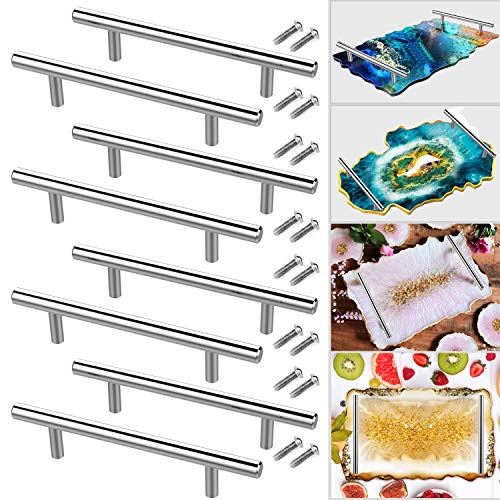 8 PCS Silver Handles Hardware for Resin Tray Molds Handles Serving Tray Handles Bulk for DIY Resin Casting, Epoxy Agate Geode Rolling Tray Handles Replacement, Cabinet Handles, Drawer Pulls