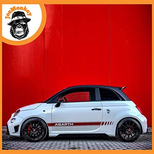 JoeMonkey Strisce Laterali 500 595 695 Abarth Adesivo Fasce ADESIVE Fiat FIANCATE Sticker (Rosso Lucido)