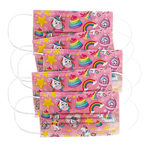 CRAZE 5er Set bunte Mundmaske für Kinder Einwegmaske Gesichtsmaske 3-lagig Maske mit Motiv Gesicht und Nase Kindermaske Unicorn Einhorn 31865