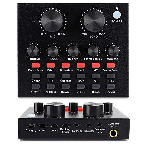 Soundkarte Live Bluetooth Schwarz Soundkarte 18 Arten von Sound-Effekten 6 Arten von Effekten Modi Unterstützung Handy und Computer