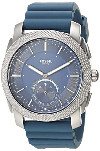Fossil Men's Machine Stainless Steel Hybrid Smartwatch, Color: Blue (Model: FTW1195)