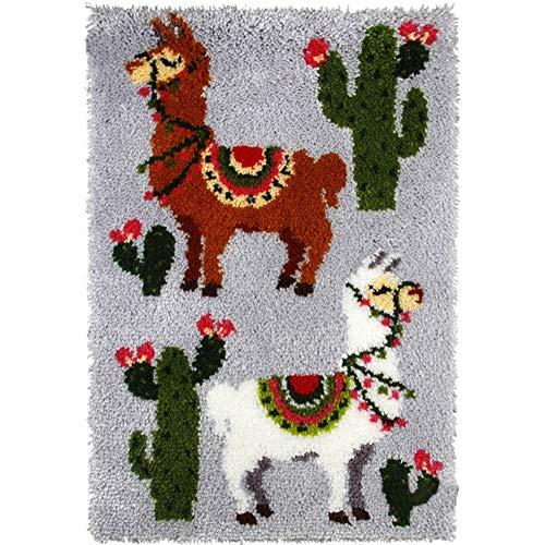 Kits De Alfombra De Gancho De Gancho De Bricolaje Kits De Tapices De Cactus 3D Lienzo Impreso Decoración para El Hogar Camello Imprimir Crochet Alfombra