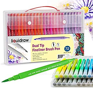 Liquidraw Dual Tip Brush Pens Fineliner Colouring Set Fineliners Coloured Watercolour Markers In Case For Adult Colouring ...