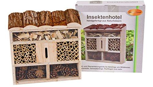 Markenlos Insektenhotel aus Holz Tanne, Bambus, Tannenzapfen