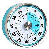 Reloj de cuenta regresiva de 7,8 cm, analógico, con temporizador, 60 minutos, para cocina, profesor, aula, reunión, niños, adultos (azul y azul)