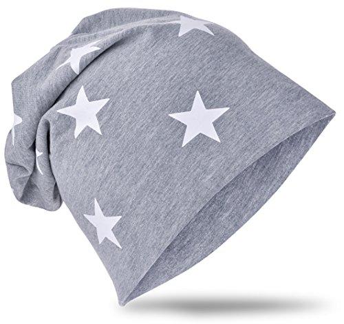 Berretto lungo in jersey, da bambino, unisex, con cotone, motivo con stella Piccola stella grigia. 48-53 cm Circonferenza Della Testa