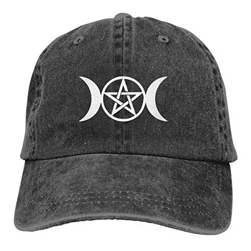Gorra de béisbol Retro para Adultos Sombrero de Vaquero Deportivo Sombrero Unisex para Exteriores Sombrero de Camionero Negro Triple Moon Pentacle