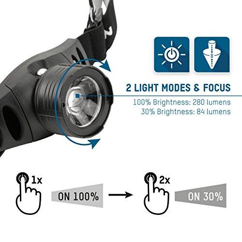 ANSMANN LED Stirnlampe HD7F mit stufenloser Fokussierung – Profi LED Arbeitsleuchte mit 280 Lumen – Kopflampe ideal zum Radfahren Laufen mit Hund Joggen Angeln Jagd Camping Werkstatt Fahrrad Licht - 4