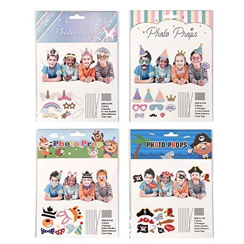 ewtshop® 32 Kinder Fotorequisiten & Fotoaccessoires Photo-Props für witzige & lustige Bilder, für Party Kindergeburtstag