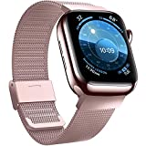 Jinlida Compatible avec Apple Watch Bracelet,Bracelet de Remplacement en Boucle Inoxydable Respirant Flexible Compatible iWatch Series 6/5/4/3/2/1/SE(Or Rose 42MM 44MM)
