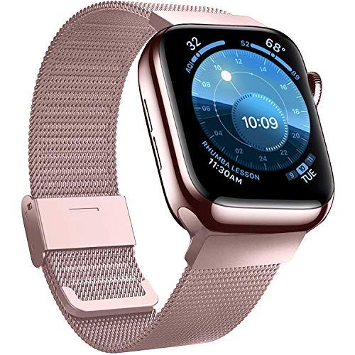 Jinlida Compatibile per Apple Watch Cinturino,Cinturini di Ricambio Flessibili Traspiranti in Acciaio Inossidabile Compatibile con iWatch Serie 6/5/4/3/2/1/SE(Oro Rosa 38MM 40MM)