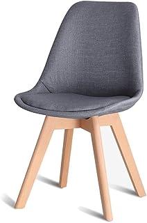 HLLZRY Cocina sillas de Comedor, fácilmente Ensamble Modern Piernas Amortiguador de la Tela Silla del Asiento de Madera, sillas sin Brazos para Cocina, Comedor, Restaurante,Gris