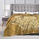 Baulred Skyrim - Manta de franela de microfibra mullida y mullida con mapa de pergamino (152,4 x 50 cm)