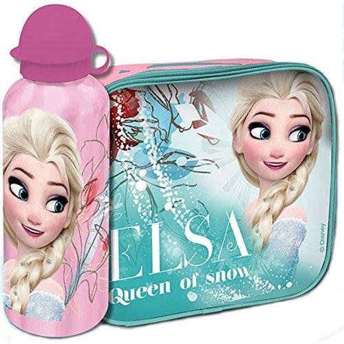 Bakaji Kit FROZEN Borsa Termica con Borraccia Alluminio Elsa Cestino Termico Merenda Disney per Bambini Bambina, Portamerenda Colazione Lunch Box