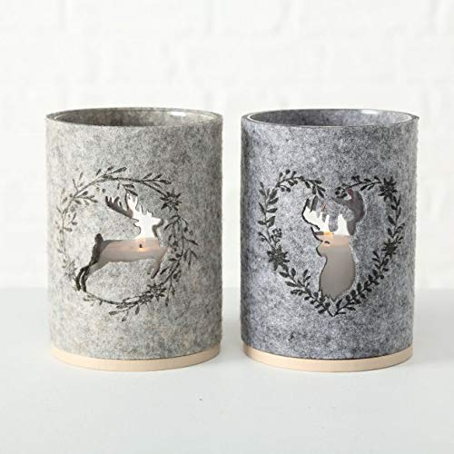 Windlicht Alpen Tal Hirsch 2 seitig Glas Filz Holz ca 14 cm mit 10 Holz Scheiben auch als Vase