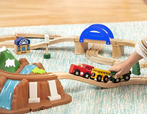 Battat – Wild Ridge Train – Classic Wooden Toy Train Set with Mountain Top Lid, Double-Sided Tracks, Toddlers 3-Years-Old & Up (47Pc) Fits Thomas, Brio, Chuggington