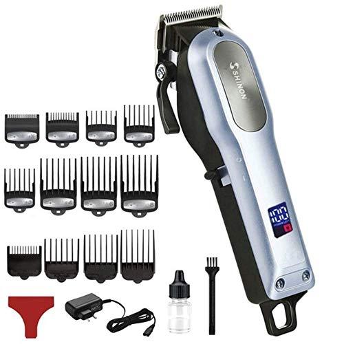 QiaoY Peluquería eléctrica cortapelos profesional del pelo del hombre cortador de pelo potente máquina de corte de pelo de corte de pelo recargable