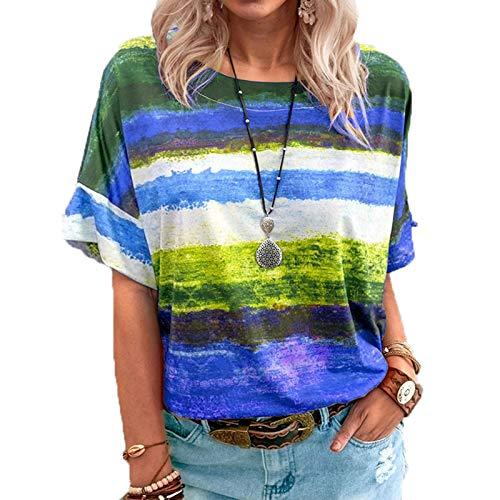 SLYZ Camiseta De Manga Corta con Contraste Degradado para Mujeres Europeas Y Americanas De Verano, Camiseta De Talla Grande para Mujer