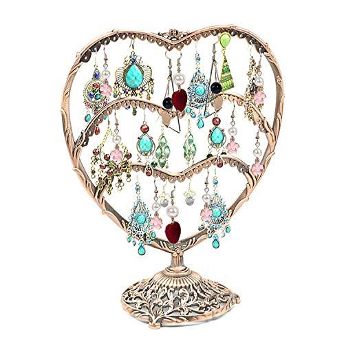 MINIDUO - Soporte para Pendientes en Forma de corazón con 58 Ganchos, 3 Niveles de Metal Resistente, Organizador de Pendientes, exhibición de Joyas para Mujeres y niñas