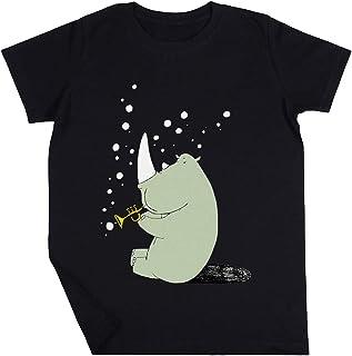 Rinoceronte Soplo Burbujas Niño Niña Unisexo Negro Camiseta Manga Corta Kids Black T-Shirt