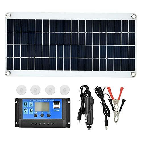WYZXR Panneau de cellules solaires, Chargeur de Batterie de contrôleur de Panneau Solaire polycristallin Flexible étanche 20W pour Ordinateurs Portables de Voiture Camping Travel