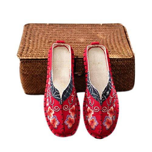 WXDP Pantuflas Calientes,Zapatillas Zapatillas para Mujer Zapatos Antiguos de Beijing, Zapatillas Fuzzy Interior Exterior Estilo étnico Retro Bordado Manual Zapatillas Lino Ligero Sandalias Trans