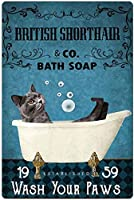 RCY-T Poodle Shower Cap Bath ブリキサイン Vintage Wash Your Paws Bar Club Family Coffee Shop Bathroom Wall Decoration 8x12 Inches Retro Gift-12-8x12 inch