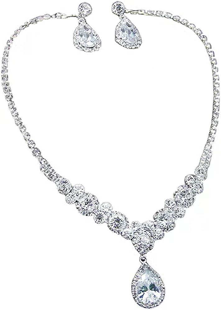 Necklace Earrings Set for Women, Bride Chain Eardrop Wedding Crystal Jewelry Sets Pendent Rhinestones Choker Accessories (3 piece set)
