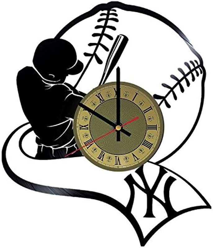 Baseball Vinyl Wall Clock NY Yankees Unique Gifts Living Room Home Decor