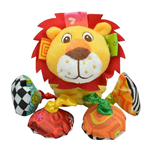 Happy Cherry-Jouet D'éveil pour Bébé Hochet sur Chambre/ Poussette/ Lit en Peluche - Jouet Premier âge Doudou Vibration en Forme d'animaux-Lion