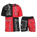 XIAOQSM Set de Deporte para Hombre Conjunto de 2 Piezas de Manga Corta Camisetas y Pantalones Cortos con Estilo Casual de sudors Black Red- XL