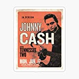 Johnny Cash & His Tennessee Two Vintage Concert Poster Sticker - Sticker Graphic - Auto, Wall, Laptop, Cell, Truck Sticker for Windows, Cars, Trucks