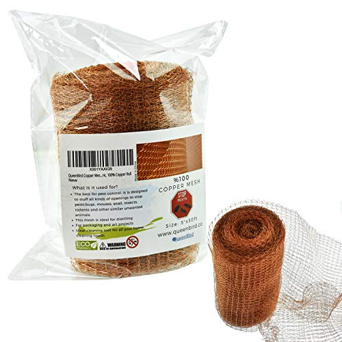 """QueenBird Copper Mesh for Pest Control - 5"""" X 30 Feet, Blocker for Mouse, Rat, Rodent, Snail, Bird, Bat, Squirrel, Snake, Mice, Bug - DIY Insect Control, Pure Copper Fill Fabric, 100% Copper Roll"""