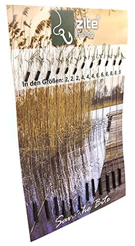 Zite Fishing Karpfen-Rigs Set - 12 Fertig Gebundene Vorfächer Boilie-Angeln - Geflochtene Angel-Schnur und Haken #2-8