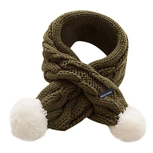 Mitlfuny Niñas Niños Invierno Cálido Pañuelos para Unisex Bebé Recién Nacido de Bola de Pelo Tejido Punto Cruz Cuello Collar Bufandas puro Algodón Suave Babero para Chicas Chicos