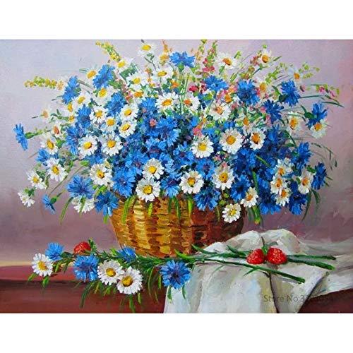 ELGDX Gerahmte DIY Malen nach Zahlen Bunte Blume Acrylgemälde Moderne Bild Home Decor für Wohnzimmer 40X50 cm Ra3511