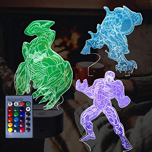 molezu Superhero 3D Nachtlampje 3 Patroon en 16 Kleur Swich met afstandsbediening voor Living Bed Room Bar Gift Toys (3 Pack)