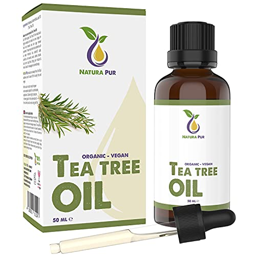 Aceite Arbol del Te BIO 50ml con pipeta - 100% orgánico y puro Tea Tree Oil - Tratamiento antiacné para cara y cuerpo - Aceite esencial de Árbol de Té