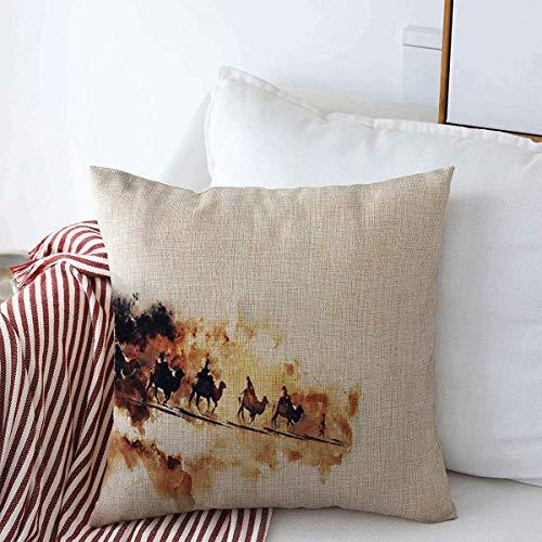 jonycm gooien kussenhoezen rit caravan camels op weg aquarel abstracte looproutes woestijn duin reis verf ontwerp gooien kussenhoezen kleurrijke vierkante koffie winkel kussensloop trendy