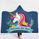 Manta con capucha de unicornio, manta de siesta de tela del cabo manta de sombrero mágico doble felpa suave impresión hermosa,G,130 * 150cm