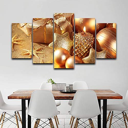 MMLXHH 5 Bilder Wohnkultur Wohnzimmer Modular HD gedruckt 5 Panel Exquisite Weihnachtssachen Wandkunst Malerei Leinwand Poster Bilder