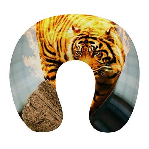 Almohada de Viaje de Espuma viscoelástica Suave, Almohada para el Cuello en Forma de U con Funda Lavable Que soporta el Cuello y Libera el Dolor, Llama de Fuego Tiger King
