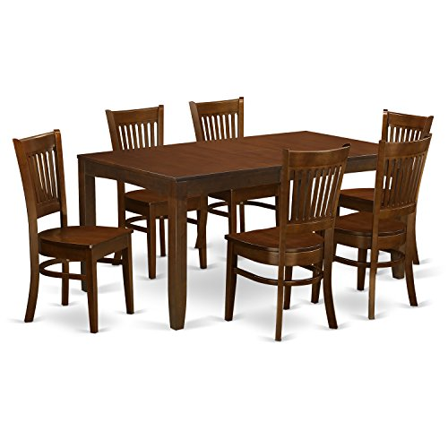 LYVA7-ESP-W 7 Pc Table with a 12' Leaf and 6 Wood Chairs in Espresso .