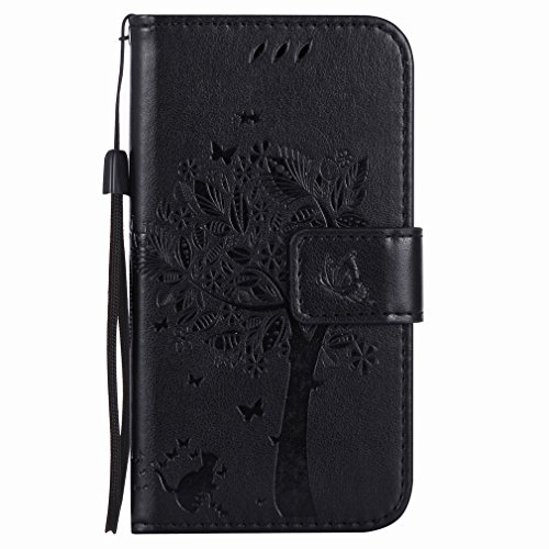 Yiizy Nokia Lumia 635 RM-974 RM-975 Funda, árbol De Dibujo Diseño Billetera Carcasa Estuches PU Cuero Cover Cáscara Protector Piel Ranura para Tarjetas Estilo (Negro)
