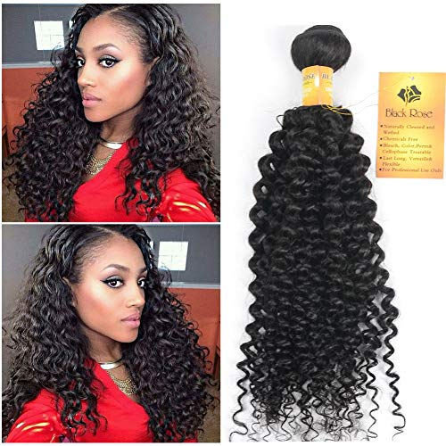 Black Rose Hair 14 inch Indian Jerry Curl Weave Human Hair Unprocessed Virgin Indian Remy Curly Hair Bundles Extensions Naturl Black Can Be Dyed and Bleached 100g/bundle