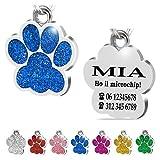 Iberiagifts - Zampa in Acciaio Targhetta Medaglietta identificativa Personalizzata per Collare Cane Gatto Animale Domestico con incisione (Blu)