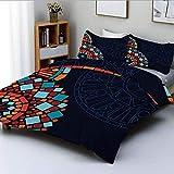 Conjunto de funda nórdica, marco de motivos de mandala circular geométrico colorido marroquíJuego de ropa de cama de 3 piezas EthnicDecorative de estilo mosaico con 2 fundas de almohada, multicolor, e